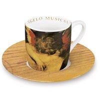 """4-tlg. 2-tlg. Espresso-Tassen Set """"Angeli"""" aus Porzellan in Angelo Musicante-Dekor"""