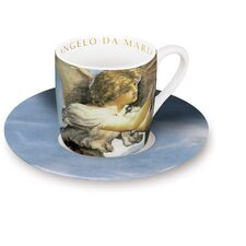 "4-tlg. 2-tlg. Espresso-Tassen Set ""Angeli"" aus Porzellan in Maria con Bambino-Dekor"