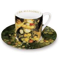 "4-tlg. 2-tlg. Espresso-Tassen Set ""Angeli"" aus Porzellan in Allegoria di Primavera-Dekor"