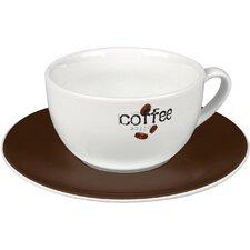"2-tlg. Latte-Kaffeetassen No.11a Set ""Coffee Collage Logo"" aus Porzellan"