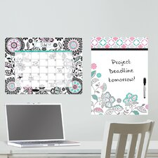 Dry Erase Floral Medley Message and Calendar Whiteboard Wall Decal