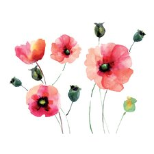 Home Decor Line Watercolor Poppies Wall Decal