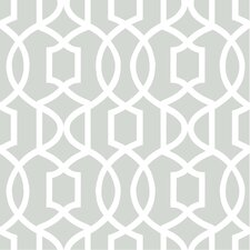 "Grand Trellis Peel and Stick 18' x 20.5"" Geometric Roll Wallpaper"