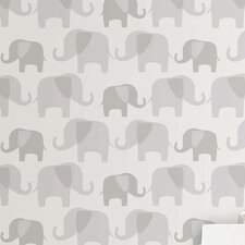 "Elephant Parade Peel and Stick 18' x 20.5"" Animal Print Roll Wallpaper"