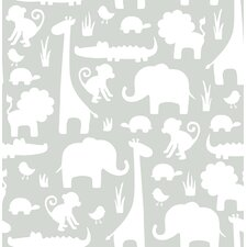 "Its a Jungle in Here Peel and Stick 18' x 20.5"" Wildlife Foiled Wallpaper"