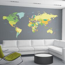 Home Decor Line Colored Map Wall Decal
