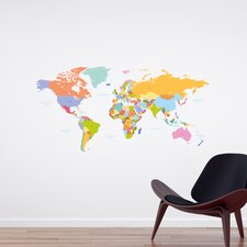 Home Decor Line Colorful Map Wall Decal