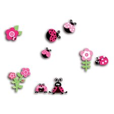 Home Decor Line Pink Ladybugs 3D Wall Decal