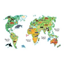 Home Decor Line Kids World Map Wall Decal