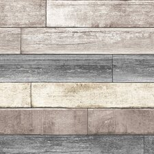 """Nu 18' x 20.5"""" Reclaimed Wood Plank Natural Peel and Stick Wallpaper"""