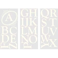 WallPops Baby Sheets Southampton Ivory Monogram and Alphabet Wall Decal