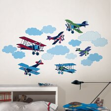 Wall Art Kit Mighty Vintage Planes Wall Decal