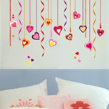 Euro Hearts on Strings Wall Decal
