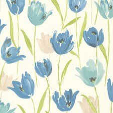 "Kitchen & Bath Resource III Finch Tulips 33' x 20.5"" Floral 3D Embossed Wallpaper"