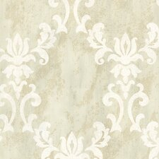 "Onyx Renna 33' x 20.5"" Damask 3D Embossed Wallpaper"