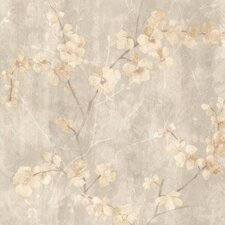 "Kitchen & Bath Resource III Chapman Cherry Blossom Trail 33' x 20.5"" Floral 3D Embossed Wallpaper"