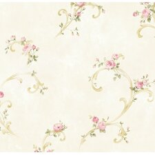 "Borders by Chesapeake Betty Tearose Acanthus Trail 33' x 20.5"" Floral 3D Embossed Wallpaper"