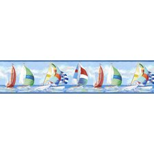 "Sand Dollar Miramar Regatta 15' x 8.38"" Scenic 3D Embossed Border Wallpaper"