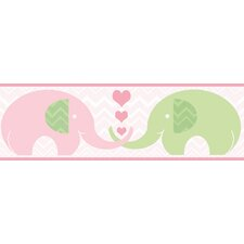 "Hide and Seek Tobi 15' x 6.5"" Elephant Love Border Wallpaper"