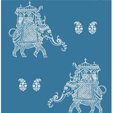 "Kismet Ophelia 33' x 20.5"" Elephant 3D Embossed Wallpaper"