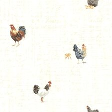 "Countryside Lisle 33' x 20.5"" Roosters Wallpaper"