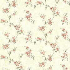 """Countryside Rose Valley Trail 33' x 20.5"""" Floral 3D Embossed Wallpaper"""