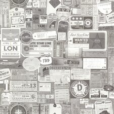 "Oxford Souvenir Vintage Tags 33' x 20.5"" 3D Embossed Wallpaper"