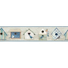"The Cottage 15' x 6"" Chic Birdhouses Border Wallpaper"