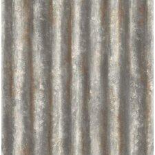 "Corrugated Metal Industrial 33' x 20.5"" Geometric Panel Wallpaper"