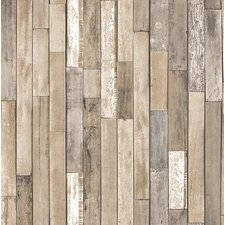 "Essentials Barn Board Thin Plank 33' x 20.5"" Wood Wallpaper"