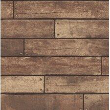 """Essentials Weathered Nailhead Plank 33' x 20.5"""" Wood Wallpaper"""