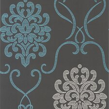 "Accents Suzette Modern 33' x 20.5"" Damask 3D Embossed Wallpaper"