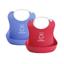Soft Bib Two Pack in Bright Red and Ocean Blue