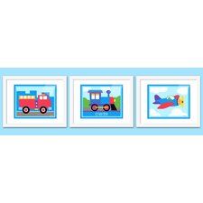 3 Piece Trains, Planes and Trucks Personalized Framed Art Set
