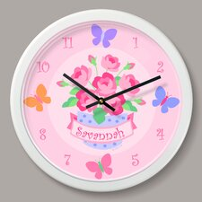 """Blossoms and Butterflies Personalized 12"""" Wall Clock"""