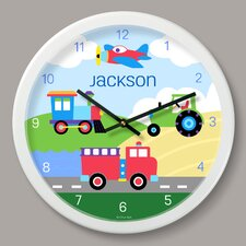 """Trains, Planes and Trucks Personalized 12"""" Wall Clock"""