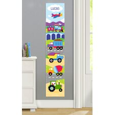 Trains, Planes and Trucks Personalized Peel and Stick Growth Chart