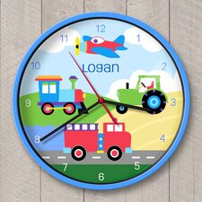"""12"""" Trains, Planes and Trucks Personalized Wall Clock"""