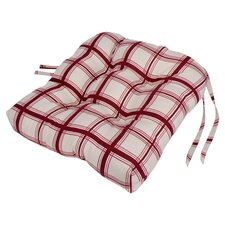 Large Scale Plaid Cushioned Chair Pad in Red