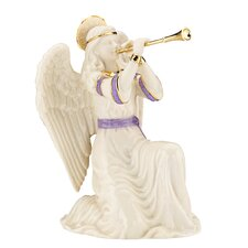 First Blessing Nativity Kneeling Angel with Trumpet Figurine
