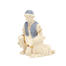 First Blessing Nativity Shepherd Boy with Dog Figurine