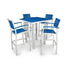 5-Piece Benson Polywood Patio Dining Set in Silver & Mahogany