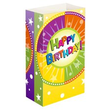 "11"" H Happy Birthday Luminaria Bags Table Lamp with Rectangular Shade (Set of 24)"