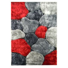 Flash Shaggy Red/Gray Abstract Block Area Rug