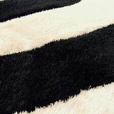 Shaggy Black/Ivory Abstract 2-Tone Large Wave Area Rug