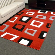 Hollywood Red Geometric Square Area Rug