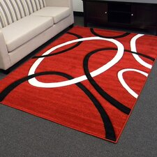 Hollywood Red Geometric Large Circle Area Rug