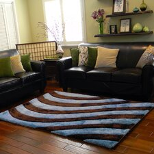3D Shaggy Abstract 2-Tone Large Wave Blue/Brown Area Rug