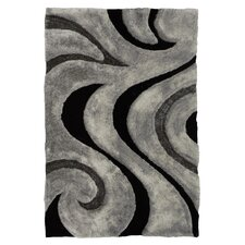 3D Shaggy Abstract Wavy Swirl Gray Area Rug