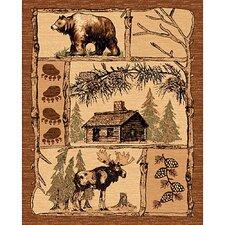 Lodge Design Bear/Deer Novelty Rug